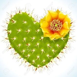 8046276-thorny-cactus-in-the-shape-of-heart-and-yellow-flower-Stock-Vector